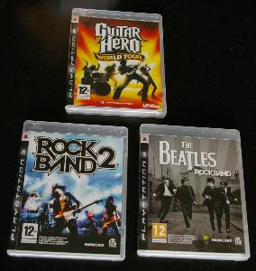 PS3 Guitar Hero World Tour, Rock Band 2, The Beatles Rock Band